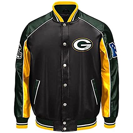 the latest d6b13 e370f Green Bay Packers faux leather Varsity Jacket NFL Packers coat Pleather  asst sizes
