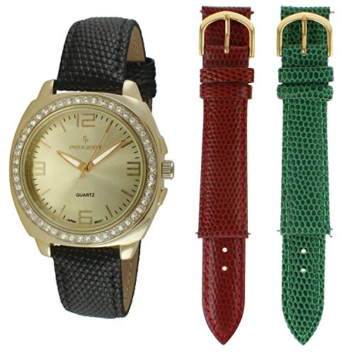 Peugeot 3pc Interchangeable Leather Band Watch with Crystal Bezel Gift Set ()