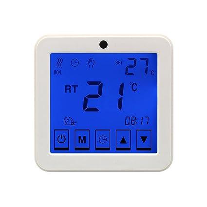 Termostato digital tactil programable 16A Luz azul para calefaccion suelo radiante programador semanal controlador temperatura pantalla