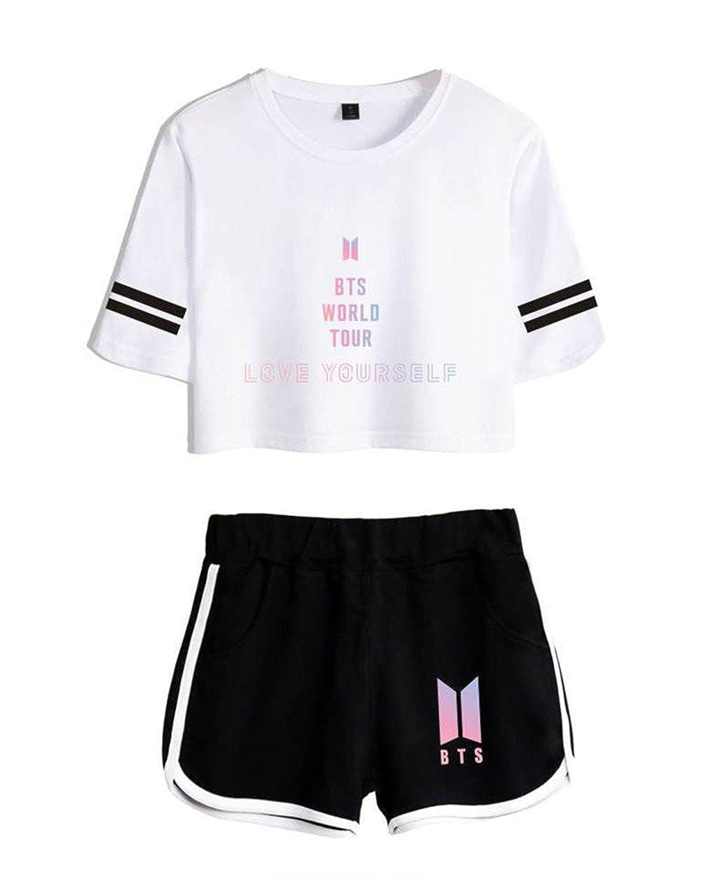 AILIENT Mujer Deportiva KPOP BTS Love Yourself World Tour 2018 2pcs Crop Top y Pantalones Cortos Set para Yoga Fitness Camisetas Verano Cuello Redondo