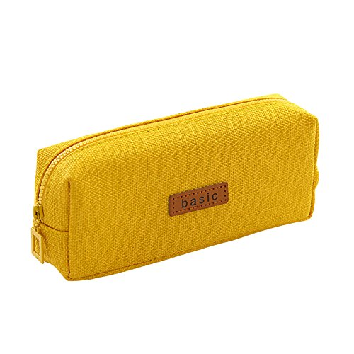 Big Capacity Pencil Case - Student Stationery Pouch Bag for School Office College Large Storage Organizer, Cotton Linen Coin Pouch Cosmetic Bag, - Yellow Coin Case
