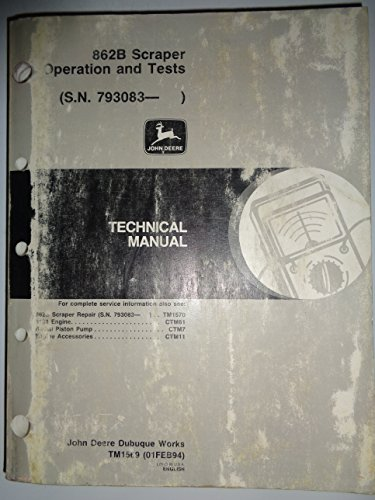 John Deere 862B Scraper (s/n 793083 and up) Technical OPERATION AND TESTS Manual 2/94