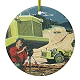 Zazzle Vintage Business, Construction Site with Surveyor Ceramic Ornament Circle