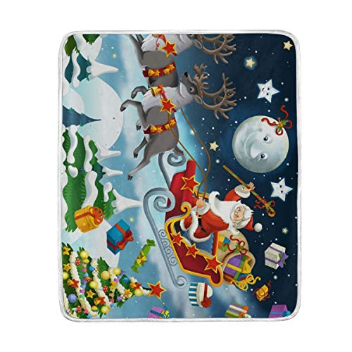 Mesllings Christmas Santa Claus with Raindeer Super Soft Warm Blanket Lightweight Throw Blankets for Bed Couch Sofa Travelling Camping 60 x 50 Inch for Kids Boys Girls -