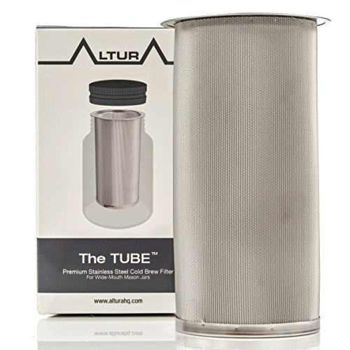 The TUBE: Cold Brew Coffee Maker and Tea Infuser Kit. Premium Stainless Steel Mesh Filter Designed to Fit All Wide Mouth Mason Jars. FREE Brewer Guide and Recipe eBook (Small)