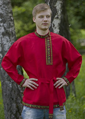 (Russian shirt men traditional wear kosovorotka boho shirt)