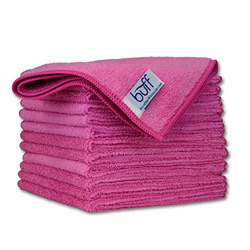 12″ x 12″ Buff Pro Multi-Surface Microfiber Cleaning Cloths | Pink – 12 Pack | Premium Microfiber Towels for Cleaning Glass, Kitchens, Bathrooms, Automotive