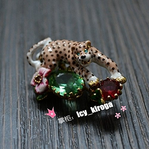 bourgeoisie fun in park green cloisonne enamel brooch pin badge crystal ornaments ()