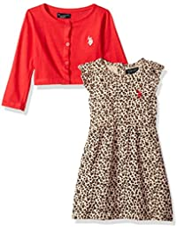 Girls' Dress With Sweater Or Jacket, Coral-6845