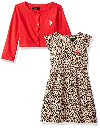 (U.S. Polo Assn. Girls' Toddler Dress with Sweater or Jacket, Engine red, 2T)
