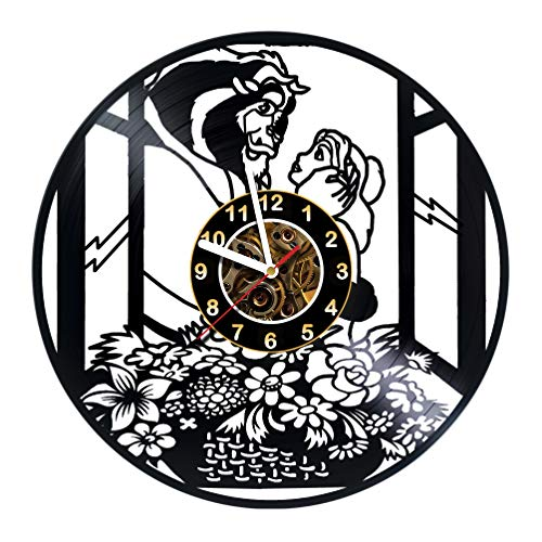 The Beauty and the Beast Movie Vinyl Record Wall Clock - Poster - Rose - Wall decor - Party - Gift ideas for friends, teens, children, men and women, girls and boys - Fairytale Movie Unique Art Design (Beauty And The Beast An Enchanted Christmas Vhs)