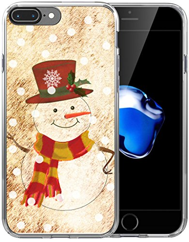 8 Plus Case Christmas Snowman/IWONE Designer Rubber Durable Protective Skin Transparent Cover Compatible with iPhone 7/8 Plus + Christmas Theme Design Cute Scene Story Gift Present ()