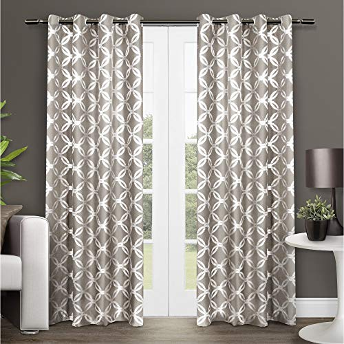 Exclusive Home Curtains Modo Metallic Geometric Window Curtain Panel Pair with Grommet Top, 54x84, Natural, 2 Piece (Silk Drapery Panels Ready Made)