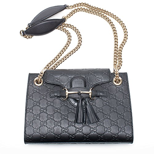 Gucci Emily Guccissima Med Margaux Black Leather Shoulder Handbag Bag Italy New