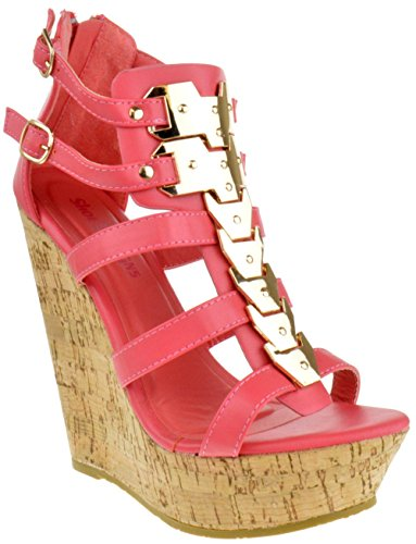 Embellished Platform - Bogata 04 Womens Metallic Embellished Embellished Platform Strappy Open Toe Wedges Coral 9