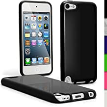 iGadgitz Black Glossy Durable Crystal Gel Skin (TPU) Case Cover for Apple iPod Touch 6th Generation (July 2015 onwards) & 5th Generation (2012-2015) + Screen Protector