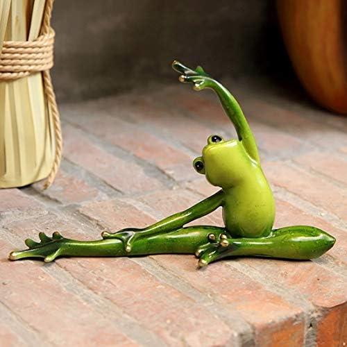 置物 ヨガ蛙 かえる 動物 樹脂 北欧 ガーデニング 飾り物 庭 ガーデン おしゃれ オブジェ オーナメント カントリー雑貨 インテリア 部屋装飾品 13 (グリーン横向き)