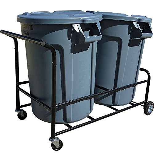 Durable Modeling Trash Can Cart Color Black Holds Two Normal Cans