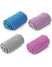 Koeling handdoeken 4 Pack voor sport, Microvezel Multi-Purpose Snel Drogen Sweat Handdoeken voor Nek, Ijs Handdoeken voor Workout Sweat, Fitness, Gym, Yoga, Hardlopen, Camping, Wandelen, Pilates, Reizen & Meer Activiteiten