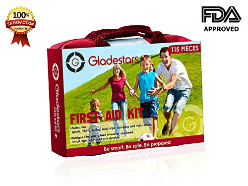 115 Piece First Aid Kit Ideal for Injuries & Medical Emergency. Suited for Home Kitchen Office School Sports Outdoors Camping Hiking Car Travel and Much More. Be Prepared with This Quality Kit.