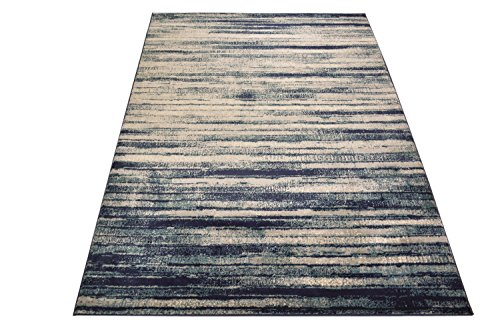 (Studio Collection Vintage Distressed Stripes Abstract Design Contemporary Modern Area Rug Rugs 3 Different Color Options (Stripes Navy Blue, 5 x 7))