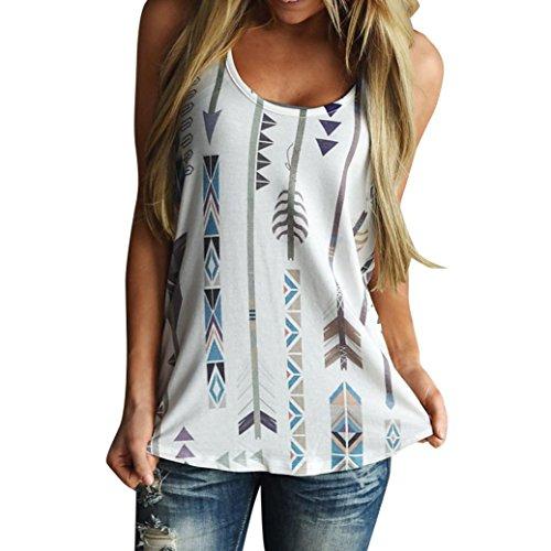 CUCUHAM Women Printed Sleeveless Shirt Blouse Casual Tank Tops T-Shirt Vest Top (M, ()