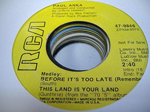 Midnight Mistress - PAUL ANKA 45 RPM Berfore It's