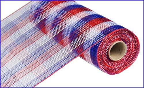 10 Inch x 30 Feet Deco Poly Mesh Ribbon - Metallic Check Red White Blue : RE1370EX
