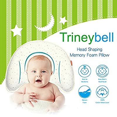 Baby Head Shaping Memory Foam Pillow - Newborn Infant Pillow for Sleeping, Prevent Flat Head Syndrome & Rolling Over and Plagiocephaly, Hypoallergenic Cotton Pillow Cover