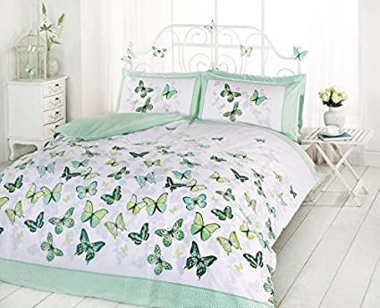 99470a60fb2 Art Green Double Duvet Cover and 2 Pillowcase Set Bedding Butterfly Girl s  Bedlinen