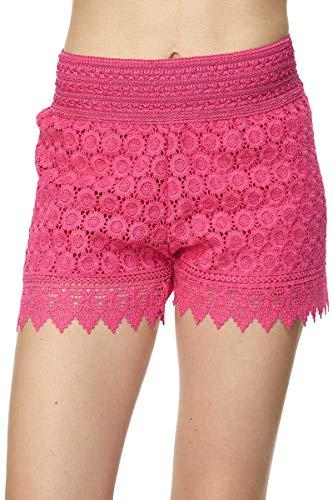 Fuchsia Crochet - Bellarize Women's Crochet Lace Shorts with Inner Lining (Floral 1 - Fuchsia, XX-Large)