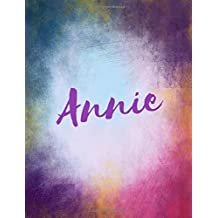 Annie: Annie personalized sketchbook/ journal/ blank book. Large 8.5 x 11 Attractive bright watercolor wash purple pink orange & blue tones. Cool elegant Lettering.