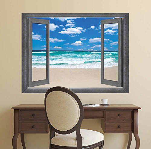 Open Window Creative Wall Decor Crashing Waves in Mid Day Paradise Wall Mural