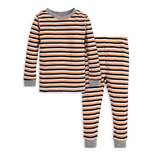 Burt's Bees Baby Unisex Baby Pajamas, Tee and Pant 2-Piece PJ Set, 100% Organic Cotton, Halloween Stripe, 18 Months