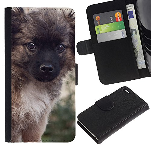 LASTONE PHONE CASE / Lujo Billetera de Cuero Caso del tirón Titular de la tarjeta Flip Carcasa Funda para Apple Iphone 4 / 4S / Puppy Keeshond Fluffy Furry Small Dog