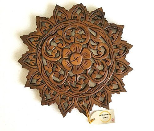 Wall Art- Oriental Carved Chaba Flower Round Wood Plaque in Brown Finish, Baan Tawai, Chiang Mai, Thailand. By WADSUWAN SHOP