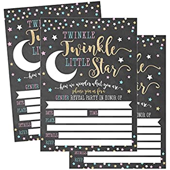 graphic about Printable Gender Reveal Invitations named 25 Twinkle Tiny Star Gender Describe Boy or girl Shower Get together Invitation Playing cards Gold and Black He or She For Gender Impartial Uni Invitations Wager If Its a Boy
