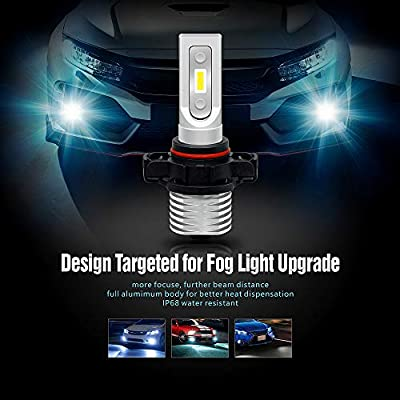 SIRIUSLED SP Series 5202 High Power Ultra Bright LED Fog Light Bulb 5000 Lumen Super Compact Fanless Pure White 6000K Lamp Pack of 2: Automotive