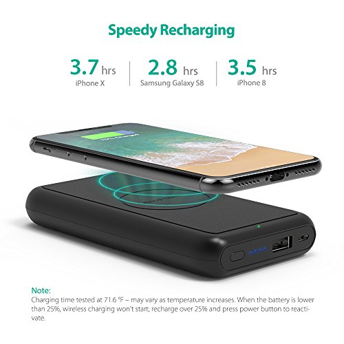 Portable Wireless Charger RAVPower 10000mAh External Wireless Battery Charger 5W Battery Pack for iPhone X, iPhone 8/8 Plus, Qi Wireless Power Bank for S9, S8,Note8 and Qi-Enabled Devices by RAVPower (Image #4)