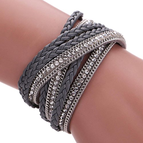 Welcomeuni Women Bohemian Bracelet Woven Braided Handmade Wrap Cuff Magnetic Clasp (Gray)