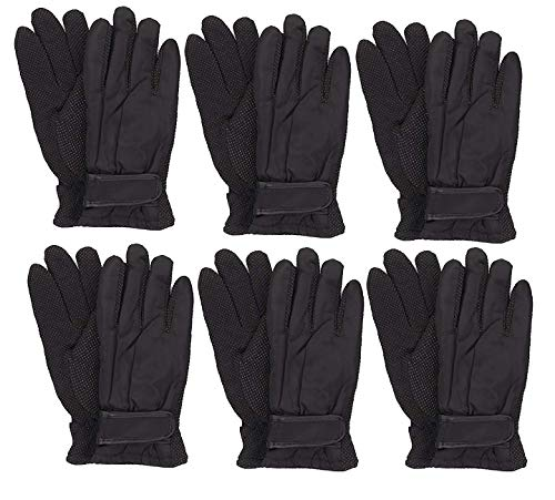 (Gilbin Kids Thinsulate and Waterproof Outdoors Ski Winter Gloves Anti-skid design 6 Pack (7-10 Year, Black Red Purple Grey))