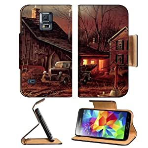 Artistic Moon Houses Cabin Barn Samsung Galaxy S5 SM-G900 Flip Cover Case with Card Holder Customized Made to Order Support Ready Premium Deluxe Pu Leather 5 13/16 inch (148mm) x 2 1/8 inch (80mm) x 5/8 inch (16mm) MSD S V S 5 Professional Cases Accessori