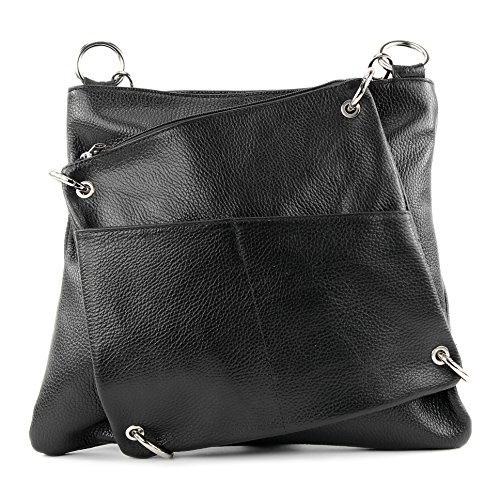 De Messengerasche Modamoda Nappa Shoulder Nt07 Leather Black Bag 2in1 Ital Damentasche qRawaOxX