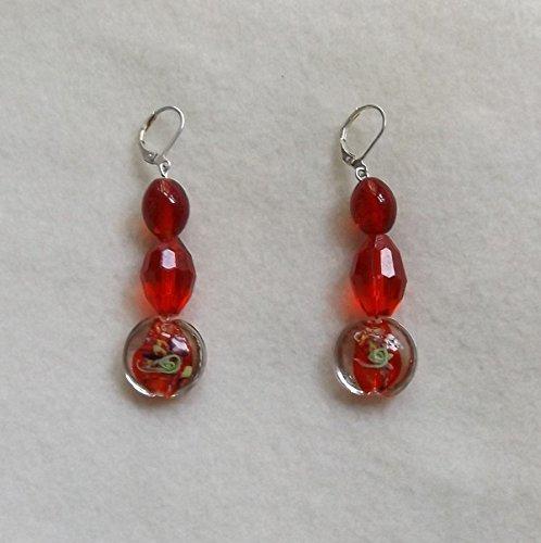 Handmade Glass Bead and Lampwork Earrings, Red Beaded Earrings, Silver Leverback Earrings