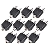 10pcs RCA Female Jack to 2 RCA Male Av Audio Y Splitter Plug Converter Adapter