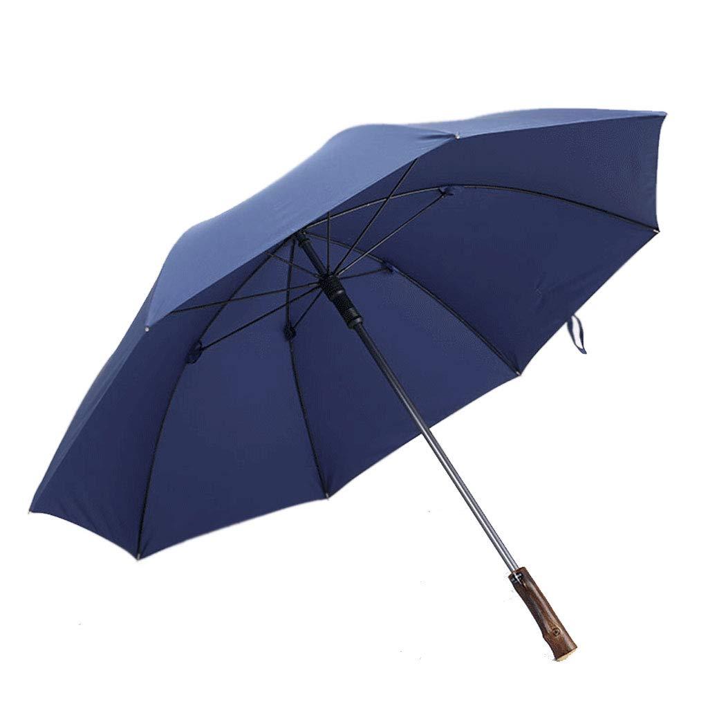 木製ハンドル傘強化防風デュアルユースロングハンドルレトロインパクトクロス傘 (色 : 青)  青 B07JDP18X3