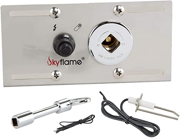 Stainless Steel Including Push Button Igniter Gas Shut-Off Valve with Key Skyflame 3//4 Inch Fire Pit Gas Burner Spark Ignition Kit
