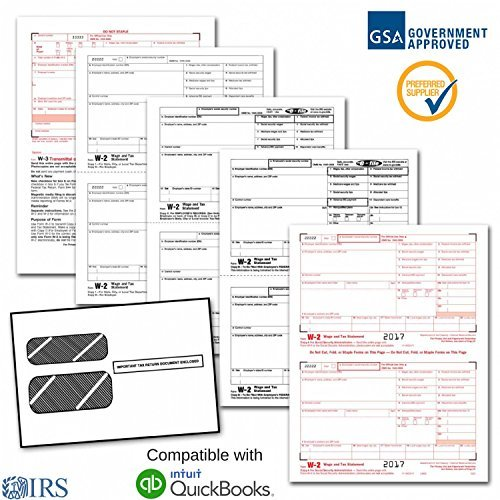 W2 Order Forms (Employee W-2 Laser Forms (W2) (4-Part) Kit with Self Seal Envelopes for 25 Employees (2017) + 3 Free W-3 Transmittal Forms - IRS Aprroved)