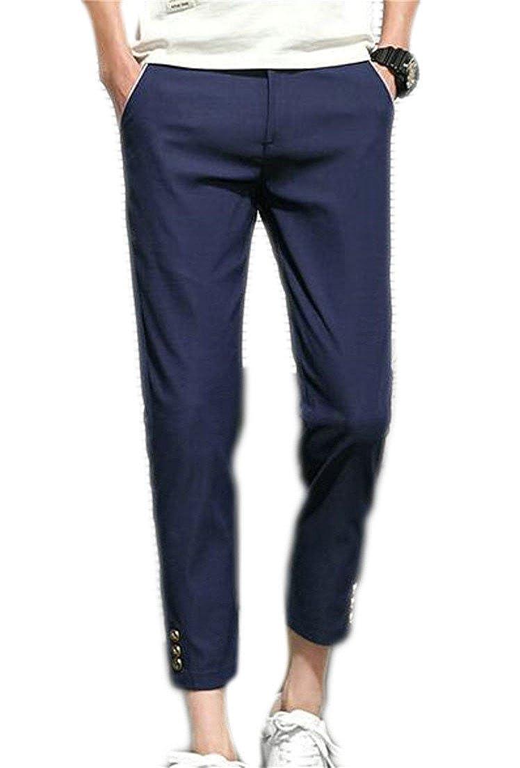 YUELANDE-Men Capri Basic Stretch Skinny Chino Cropped Pants
