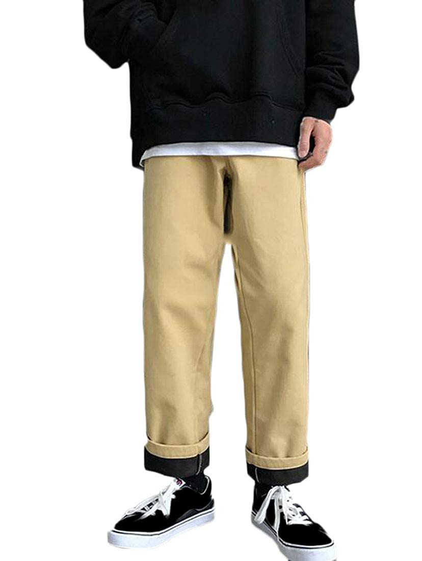 Macondoo Mens Slim Basic Trousers Solid Color Fleece Thickened Pants